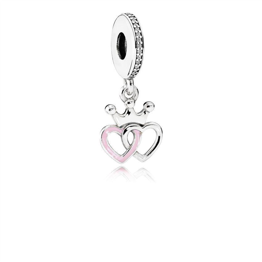 7631250b0 Pandora Crowned Hearts Dangle Charm, Orchid Pink Enamel & Clear CZ 791963CZ