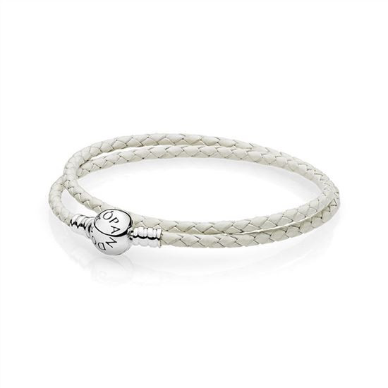 b4a80cee8 Pandora Ivory White Braided Double-Leather Charm Bracelet 590745CIW ...