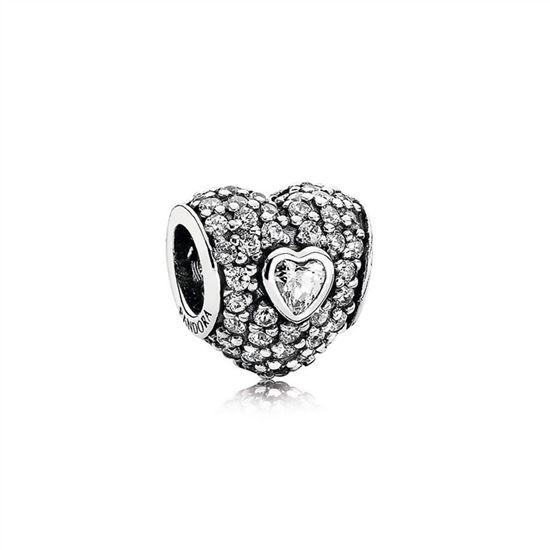 8ae499a32 Pandora In My Heart Charm, Clear CZ 791168CZ, Pandora Jewelry, Authentic  Pandora Earrings
