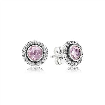 Pandora Brilliant Legacy Stud Earrings, Pink & Clear CZ 290553PCZ