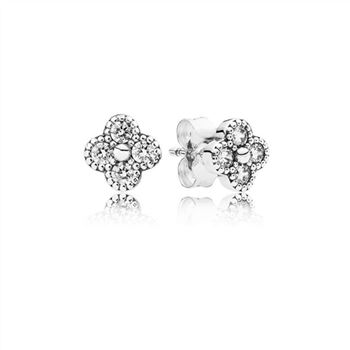 Pandora Oriental Blossom Stud Earrings, Clear CZ 290647CZ