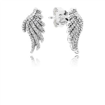 Pandora Majestic Feathers Stud Earrings, Clear CZ 290581CZ