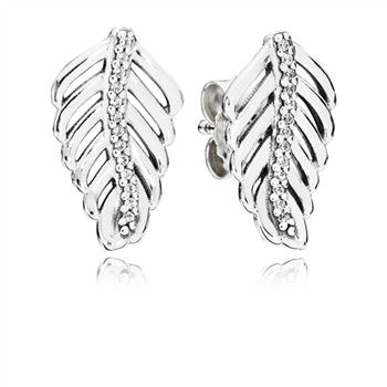 Pandora Shimmering Feathers Stud Earrings, Clear CZ 290582CZ