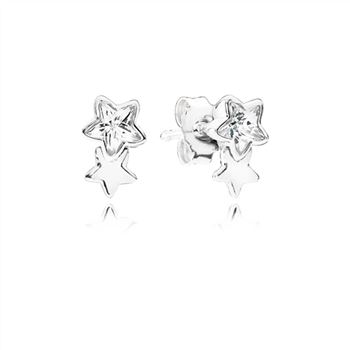 Pandora Twin star silver stud earrings with clear cubic zirconia 290598CZ