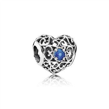 Pandora December Signature Heart Charm, London Blue Crystal 791784NLB