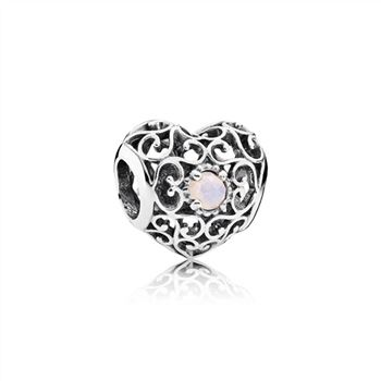 Pandora October Signature Heart Charm, Opalescent Pink Crystal 791784NOP