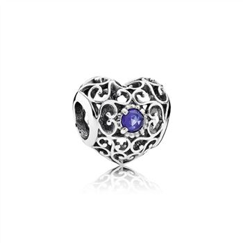 Pandora September Signature Heart Charm, Synthetic Sapphire 791784SSA