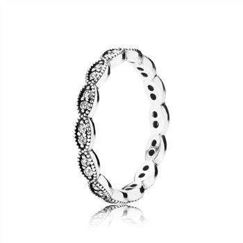 Pandora Sparkling Leaves Stackable Ring, Clear CZ 190923CZ