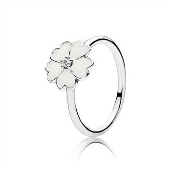 Pandora Primrose Stackable Ring, White Enamel 190931en12