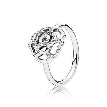 Pandora Silver Rose Ring With Clear Cubic Zirconia 190949cz