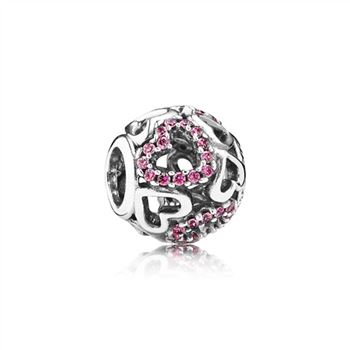 Pandora Fancy Pink Falling in Love Openwork Charm 791424CZS