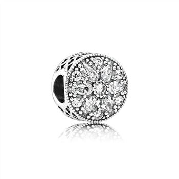 Pandora Abstract silver charm with clear cubic zirconia 791762CZ